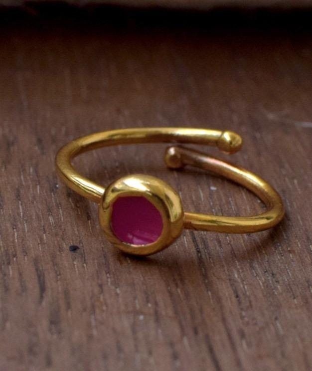 Δαχτυλίδι- Bronze Gold-plated Red Enamel Ring (Chevalier)  61f6c3a1a58