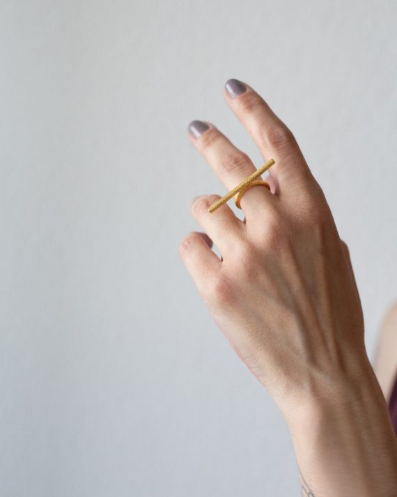 brass barres ring goldplated 1